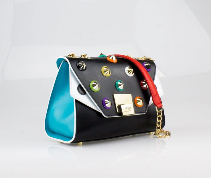 Pochette Mini Bag donna Silvie Color Studs Jadise fianco occhi