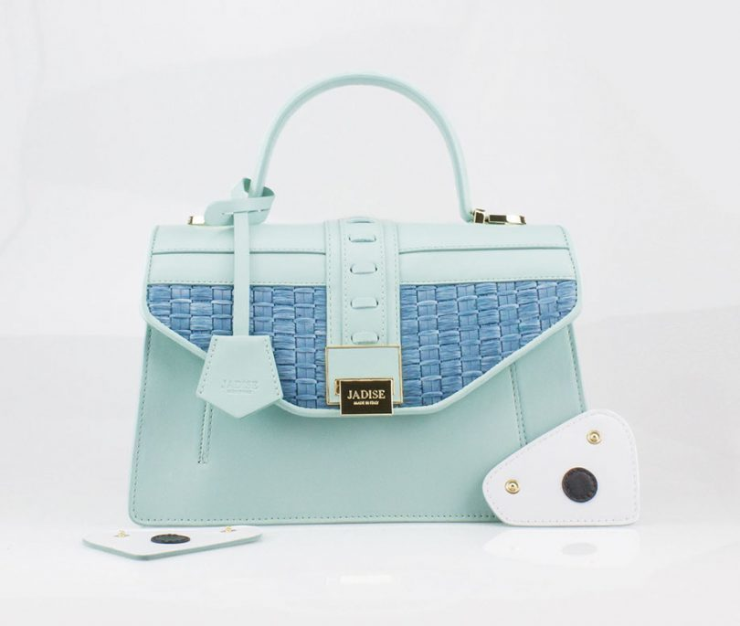 Borsa a tracolla donna Kate Blue Straw Jadise fronte