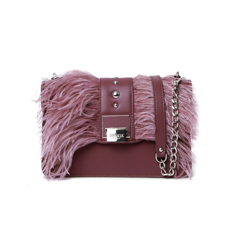 Borsa a tracolla donna Lily Big Tracollina Plumage Brown Rose fronte