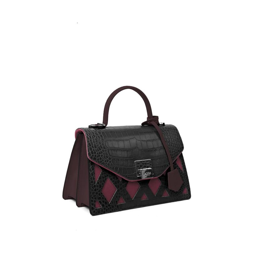 Borsa a spalla donna Kate Cocco Black/Rose fianco