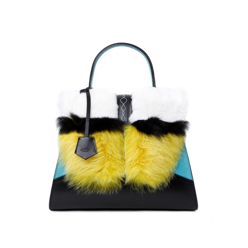 Baule donna pelle Sabrina Big Fur Black Yellow White