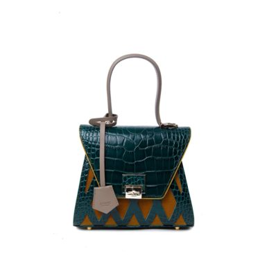 Borsa rigida donna Sabrina Small Cocco Green Yellow