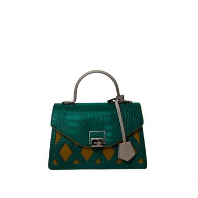 Borsa a spalla donna Kate Cocco Green/Yellow fronte