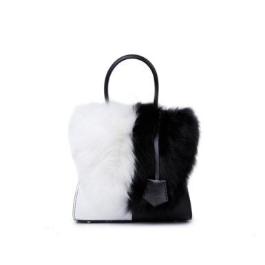 Baule donna Sabrina Small Fur Black and White